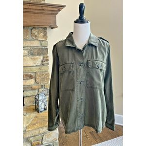 Lucky Brand Utility Jacket Army Green Button